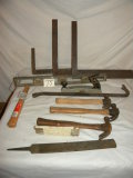 Three Rafter Construction Squares; 4 Hammers; Wood Rasp; Crow Bar; Aluminum