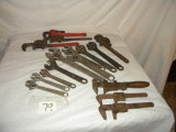 Adjustable Wrenches=9 Crescent Wrenches; 4 Pipe Wrenches; 3 Old Antique Ad