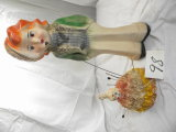 Carnival Chalk Doll Prize, 16'h; Hat Pin Cushion W/porcelain Face, (damaged