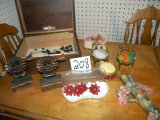 Misc Lot:  Copper book ends, 2 metal pin cushion chairs, old buttons, Jewelry box