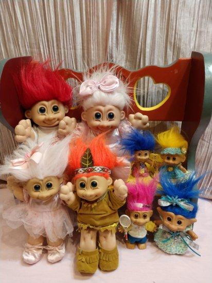 Lot Of (8) Troll Dolls