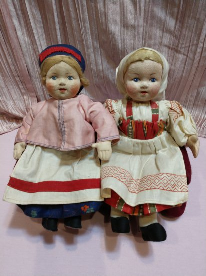 "Early 1900's Pair Antique Soviet Union 10"" Cloth Stockinettes"