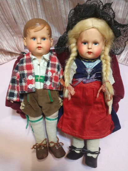 "Rare! 1910-20's Pair 11"" Authentic German Celluloid/papermache Cloth Bodied Dolls From Minerva Jung"