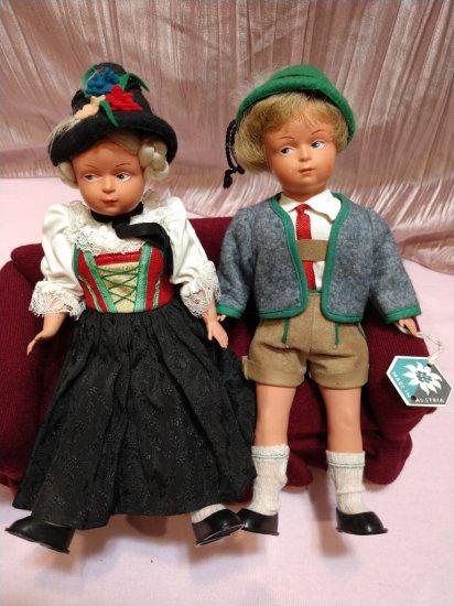 "Early 1900s Matching Pair German Rare Dolls 10"" Celluloid In Lederhosen & Dirndl"