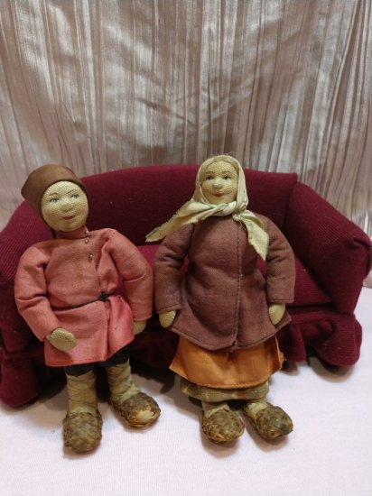 "Authentic Pair 6"" Pre-1922 W Tag Stockinette Russia Russian Soviet Union Dolls"