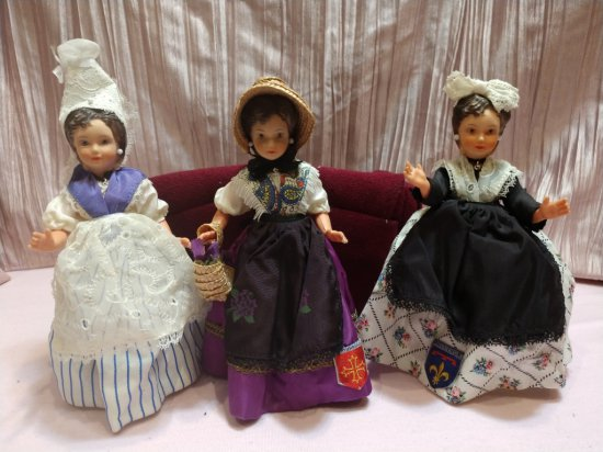 "(3) Very Rare ""poupee Bella"" 7"" Dolls From France..."