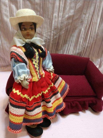 "Early Vintage 10"" Highly Decorated Cloth/felt Lenci Style Argentina Doll"