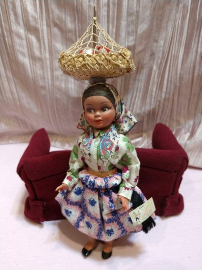 Vintage Rare Tagged Lala Made In Portugal Plastic Doll With Basket Of Chickens Atop Head!