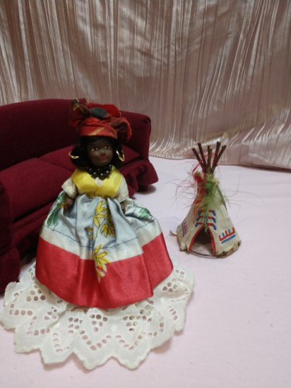 "A Rare & Miniature 5"" Vintage Hand Made Celluloid Jamaican Doll"