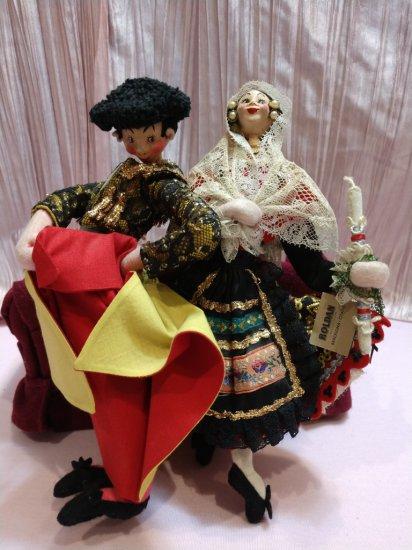 "Amazing Vintage 10"" Spanish Dancing & Matador Cloth Doll Pair By Roldan Klumpe"