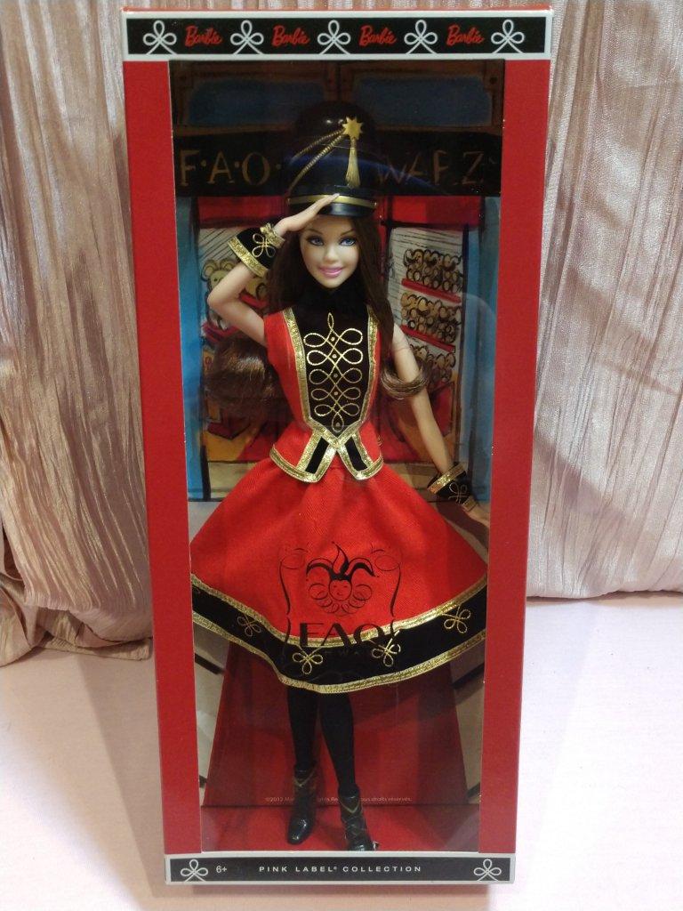 Pink Label FAO Schwarz Barbie Doll With Arm Cuffs Soldier Hat /&  Black Boots