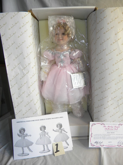"The Shirley temple Ballerina, Danbury Mint, SN A2372, Authenticity, 17""H, O"