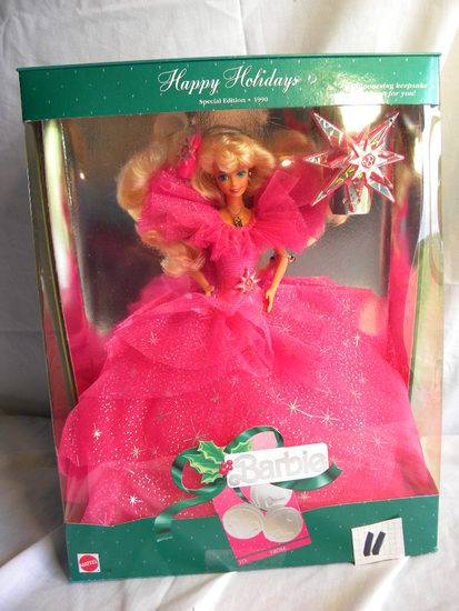 "Barbie = Happy Holliday1990"", Picture for framing, by Mattel #4098, 12""H, O"