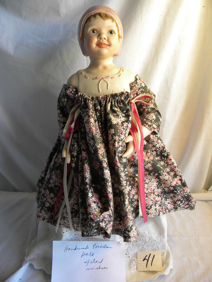 "Porcelain Doll, ""Handmade"", W/Stand, 18""H, (Fixed Eyes)."