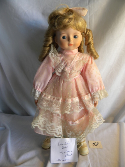 "Porcelain Doll, w/Shoes & Stand, 16""H, (Well Worn).."