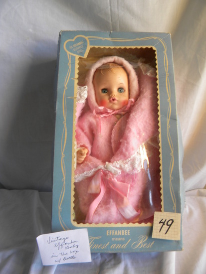 "Effanbee, Vintage Baby Doll w/Bottle, (open/closed eyes), 12""H."