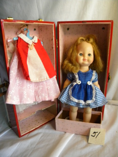 "Vogue Doll w/Doll clothes and Case, 11""H, (open/close eyes)."