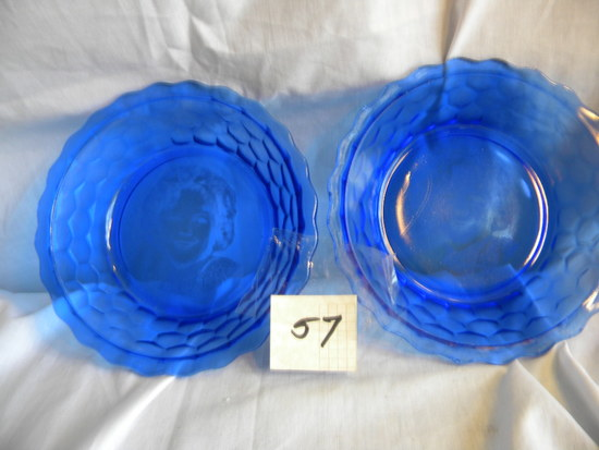 "Shirley Temple,Pair of Cobalt Blue Bowls, Octagonal Design, 2""H X 6.5""D, on"