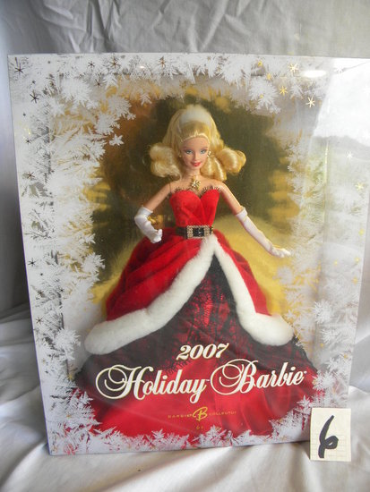 "Barbie = ""2007 Holliday Barbie"", by Mattel #K7958, 12""H, Original Box."