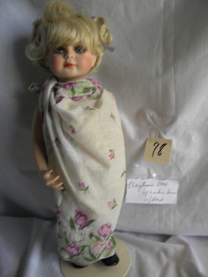 """Playtime Doll w/Hankie Dress"", w/Stand, 16""H."
