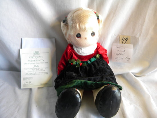 "Precious Moments ""Holly"", w/Certificate of Authenticity, 16""H.,"
