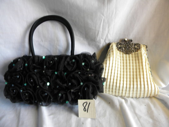"Hand Purse w/chain Strap, 6X7""; Jewel Pattern Hand Purse, 4X9""."