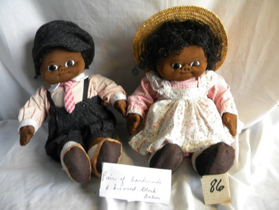"Handmade Black Boy & Girl Dolls, 16""H."
