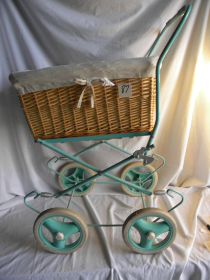 "Collapsible Wicker Basket Doll Carriage, 30X16X22""."