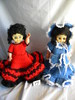 Pair of Open & Closed Eye Dolls with Red and Blue Crochet Dresses & hats, R