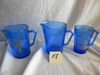Shirley Temple, Cobalt Blue- Pair of Creamers w/handles, 1 cup w handle