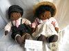 "Handmade Black Boy & Girl Dolls, 16""H."