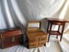 """Wood Dresser 9X7 1/'2X 5""""; Wood Hall Stand 9X5X5""""; Wood Trunk 8X7X5""""."""