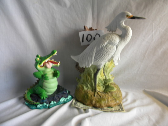 "Decanter.  White Crane, Heritage, W/o Seal, 11""h; 6th Disney Convention, ""alligator Ti"
