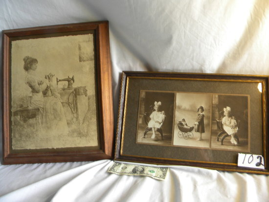 """Three Old Photos, 10"""" X 16""""; Litho, """"girl Sewing"""" 13"""" X 16""""."""