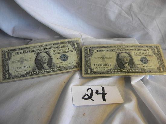 Pair Dollars=u43554717a, 1957b; A14396260b, 1957b, Both Washington Dc, (bl