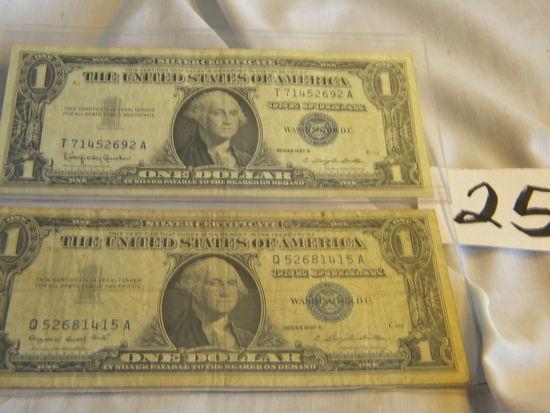 Pair Dollars=71452692a, 1957b; Q52681415a, 1957b. Both Washington, Dc. Blue