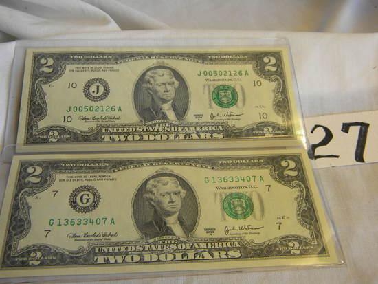 Pair Of 2 Dollar Bills=j00502126a, 2003a; G13630407a, 2003; Both Bank Of Ka