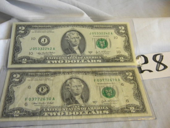 Pair Of 2 Dollar Bills=j05332242a; 2003a F03772670a, 2003a; Both Bank Of At