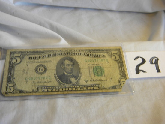 Five Dollar Bill= G92177707c, 1950b, Bank Of Chicago, Il, Green No's And Se