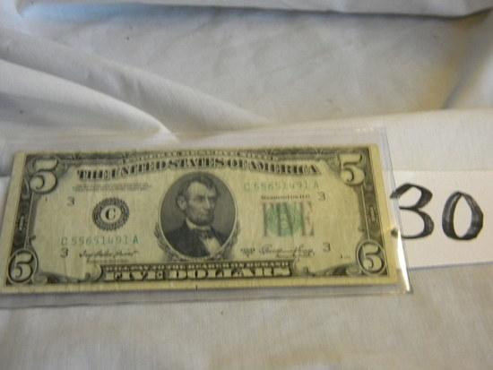 Five Dollar Bill= C55651419a,, 1950a, Bank Of Phiiladelphia,pa, Green No's