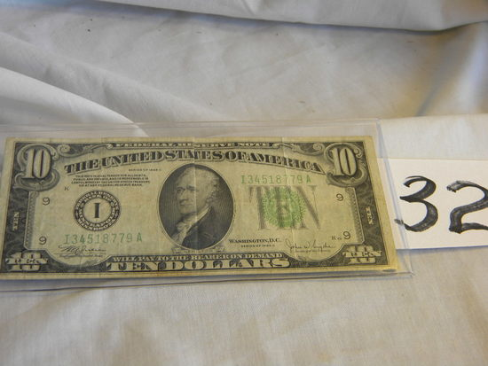 Ten Dollar Bill= I34518779a, 1934c, Bank Of Minneapolis, Minn, Green No's