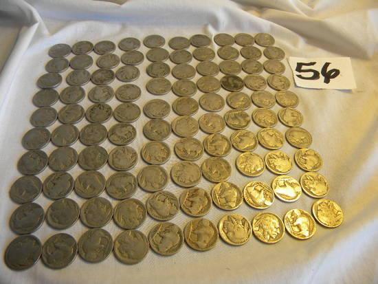 Nickels, Worn, 100 Pieces.