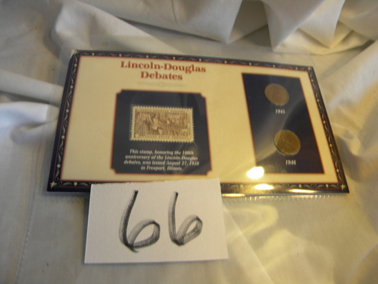 Stamp/Coins Lincoln Douglas Debate, 1858 Stamp, Two Wheat 1945-1946 Pennies. Anniversar