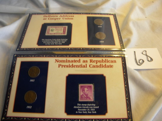 """Stamp/Coins,""""Abraham Lincoln Quote-stamp, Issued Nov. 19th, 1960; Pair Of Wheat Pennies"""