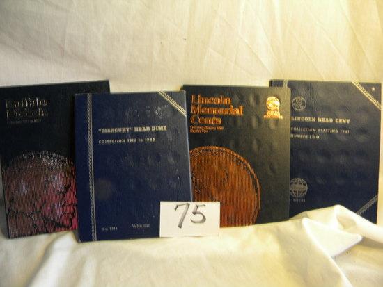 Coin Books.  Lincoln Cent; Mercury Dime; Buffalo Nickel; Lincoln Cent.