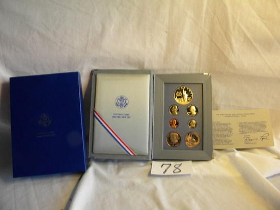 1986 Prestige Mint Poof Set=dollar, Half Dollar, Quarter, Nickel, Cent, Dim