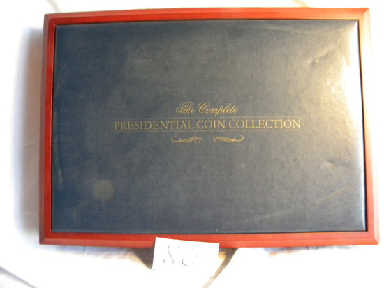 "Walnut coin display case Presidential Dollar Collection, Walnut, 2""h X 12""d X 17""w, By Franklin Mint"