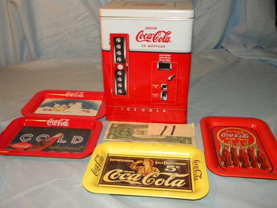 Coca Cola = Front Dispenser Pop Cooler; 4 Mini Trays.