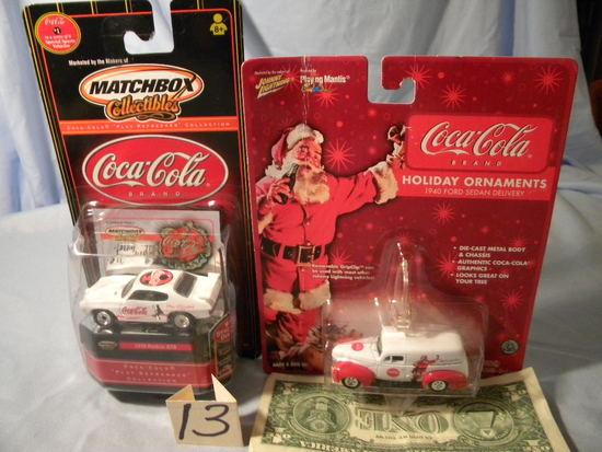 Coca Cola= 1970 Pontiac Gto; Die Cast Holiday Ornaments.