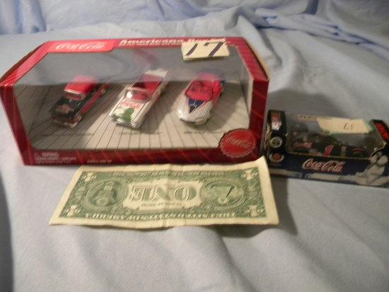 "Coca Cola= ""dale Earnhardt"" Racing Car; 3 Die Cast Car Set."
